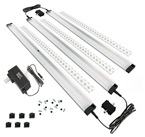 EShine 3 Extra Long Panels LED Under Cabinet Lighting with IR Sensor Easy to Install - Hand Wave Activated - 20inch Panels - Screws and 3M Sticker Options Included Warm White