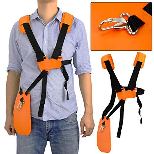 aXXcssqw9bAdjustable Strimmer Double Shoulder Harness Strap Mower Trimmer Padded Belt - Orange