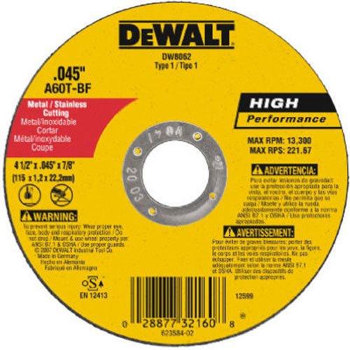 DeWalt DW8062 4-12-Inch Diameter by 045-Inch Thick Metal Cutting Abrasive Wheel with 78-Inch Arbor