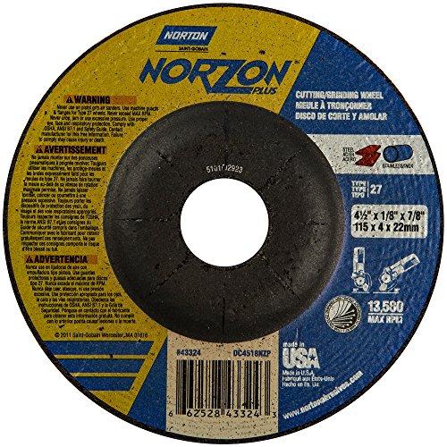 Norton Norzon Plus Depressed Center Abrasive Wheel Type 27 Zirconia Alumina 78 Arbor 4-12 Diameter x 18 Thickness  Pack of 1