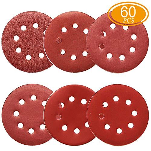 60Pcs Sanding Discs 5 Inch 8 Holes 1000800600400320240 Grit Sandpaper for Random Orbital Sander