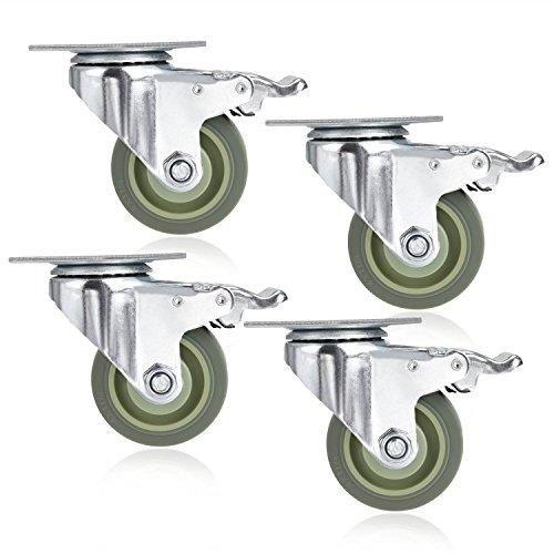 4 PVC Heavy Duty Swivel Caster Wheels Lockable Ball Bearing 300lbs each Set of 4 - Silver Gray