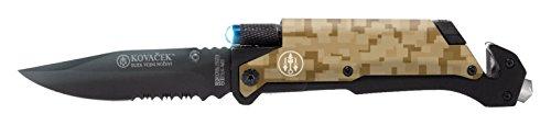 Kovacek AMZ3EDC Spring Open Removable Led fire Rod Cutter glass Punch Belt Clip Half Serrated Blade