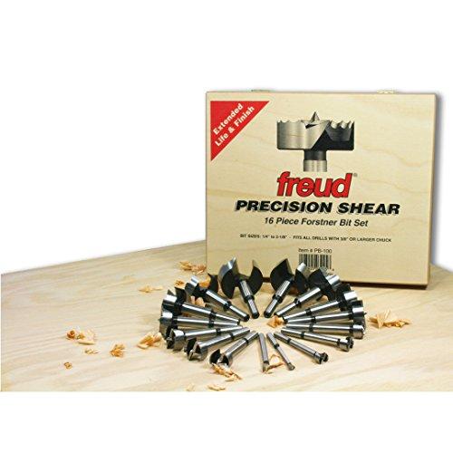 Freud 16 Pcs Precision Shear Serrated Edge Forstner Drill Bit Set 14-Inch to 2-18-Inch PB-100