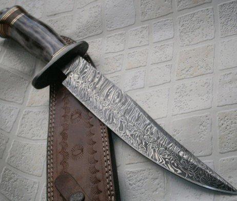 REG 599 Custom Handmade Damascus Steel Bowie Knife- Stunning Colored Handle