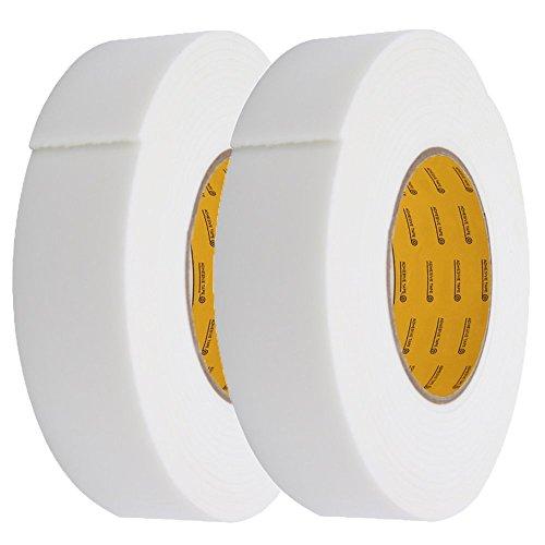 MyLifeUNIT Double Sided Sponge Rubber Foam Tape 14 W x 01 H x 15 L 2 PCS White