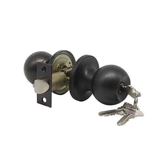 1 pack Entrance Doorknobs Entry Keyed Door Lock Lockset Interior BedroomBathroom in Oil Rubbed Bronze 3 Free keys
