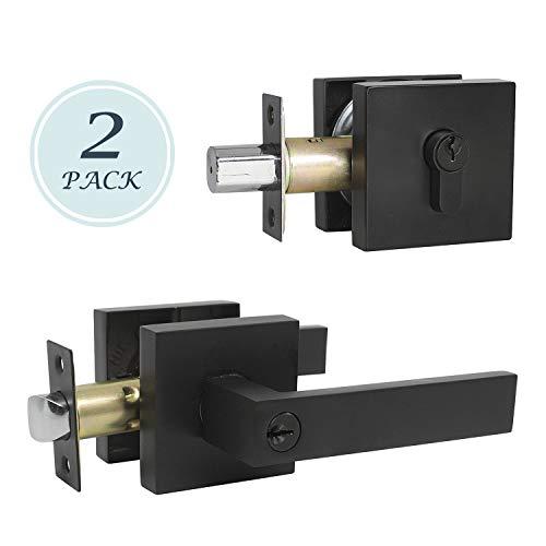 2 Pack Keyed Entry Door Lever Heavy Duty Double Keyed Deadbolt Lockset with Reversible Left or Right Handle Matte Black Finish Vintage Design Keyed Alike