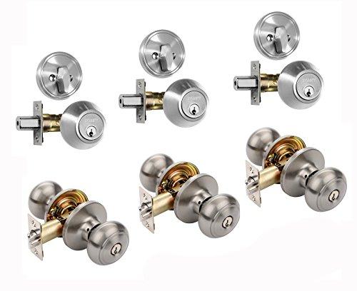 Dynasty Hardware CP-SIE-US15 Sierra Entry Door Knob Lockset and Single Cylinder Deadbolt Combination Set Satin Nickel 3 Pack Keyed Alike