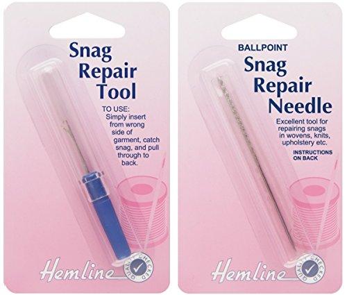 Hemline Snag Repair Ballpoint Needle Hook Tool Set Pluck Removal Tool 8cm Sticky Shank H247 H248 by Hemline
