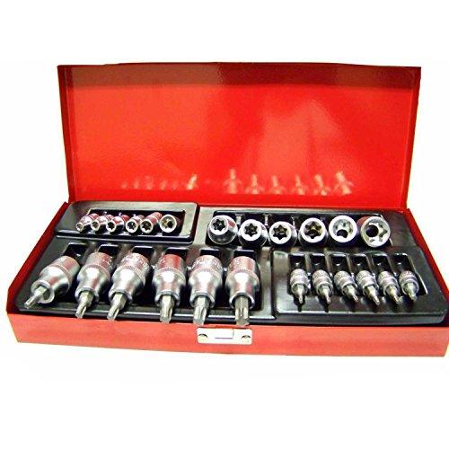 24 Pcs Torx Star Bit Socket And Female E Socket Set 12 And 14 Dr Seat Belt