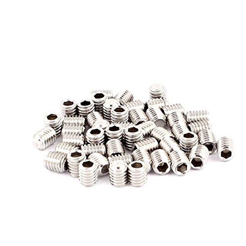 uxcell 50pcs M5x6mm 304 Stainless Steel Hex Socket Flat Point Set Grub Screws
