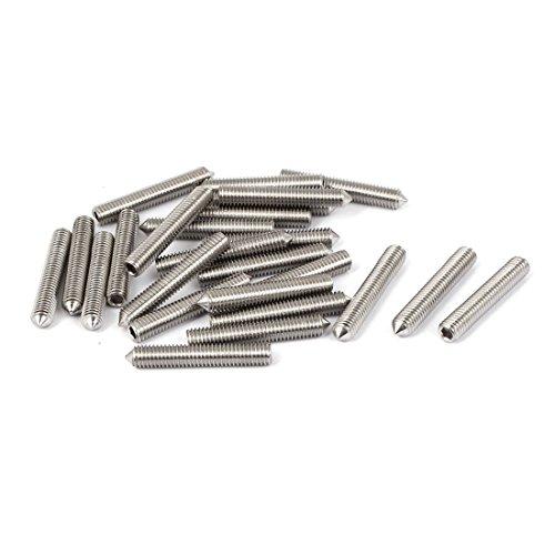 uxcell M5 x 30mm Cone Point Hex Socket Grub Screw Silver Tone 25 Pcs