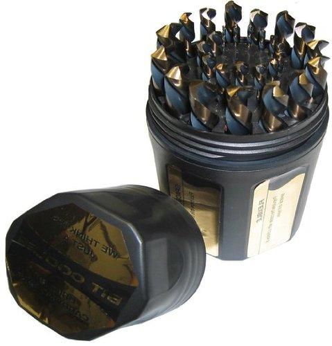 Drill America DWD29J-CO-PC Qualtech 29 Piece Cobalt Steel Jobber Length Drill Bit Set in Plastic Case Gold Oxide Finish Round Shank Spiral Flute 135 Degrees Split Point 116 to 12 Size