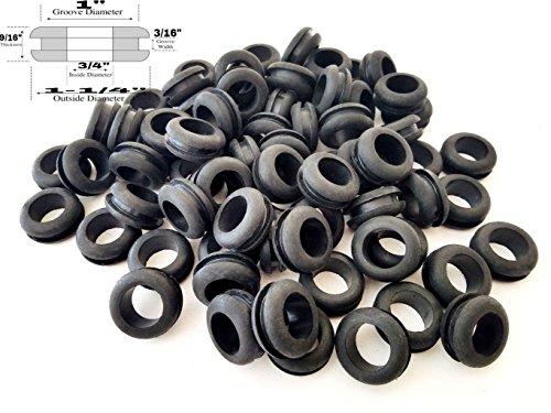 Lot of 25 Rubber Grommets 34 Inside Diameter - Fits 1 Panel Holes