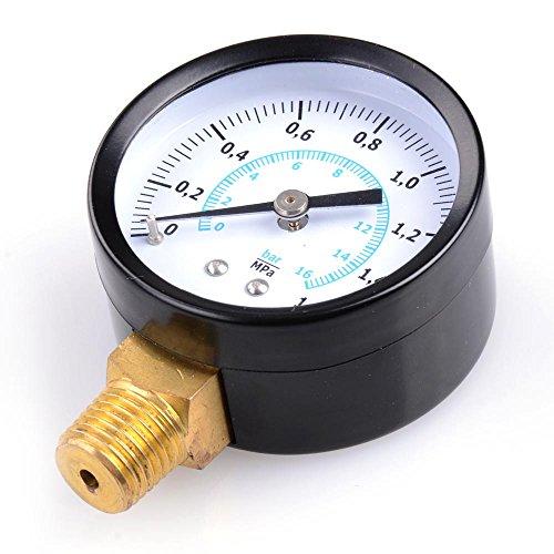 Yescom 16-Mpa 14 NPT Pipe Thread Water Pressure Gauge Black