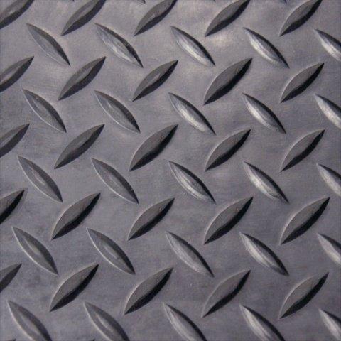 Rubber-Cal Diamond Plate Rubber Flooring Rolls 18-Inch x 4 x 8-Feet Black
