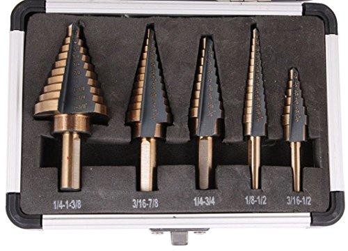 TMS 5PCS HSS Cobalt Multiple Hole 50 Sizes Step Drill Bit Set Tools w Aluminum Case
