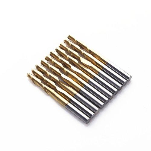 Autek 10x 18 Titanium Coated 2 Two Flute Carbide Ball Nose End Mills CNC Bit Router 17mm2Qx317Tix10