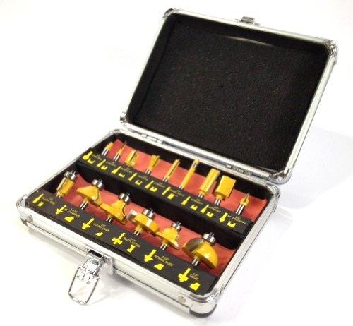 ROUTER BIT SET - 15 piece 14 inch Shank CARBIDE TIP Deluxe Aluminum Case New