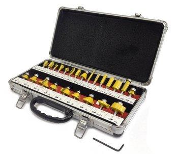 Router BIT SET - 15 Piece 12 Inch Shank Carbide TIP Deluxe Aluminum Case