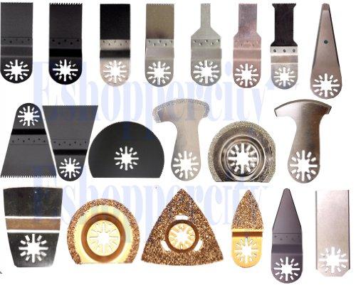 20 Diamond  Carbide Pcs Pro Pack Combo Japan Tooth BIM Carbide Diamond Standard Cut Oscillating Multi Tool Saw Blade for Fein Multimaster Bosch Multi-x Craftsman Nextec Dremel Mm20 6300 FMM 250q M12 Multi-max Ridgid Dremel Chicago Proformax Blades