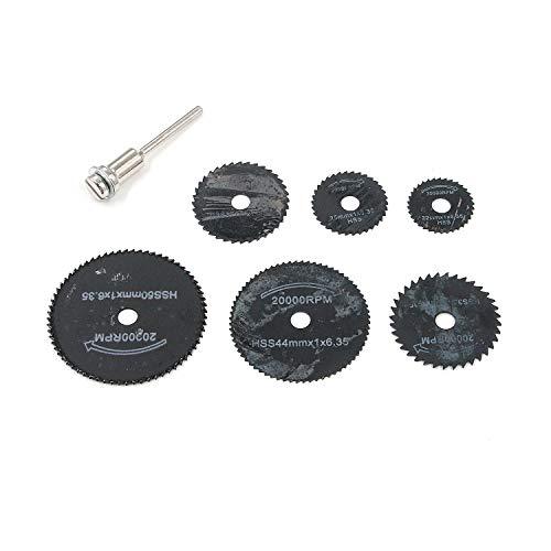 MTMTOOL 6 Pcs Black Circular Saw Blades High Speed Steel Saw Disc Wheel Cutting Blades for Dremel Rotary Tool