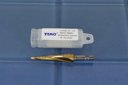 TEMO M2 HSS 13 size spiral flute Titanium step drill 14 hex shank 18 to 12 11A4