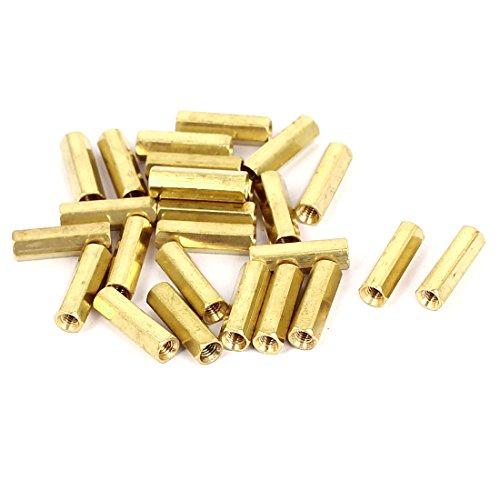 M3 x 16mm Female Threaded Brass Hex Standoff Pillar Spacer Nut 25pcs