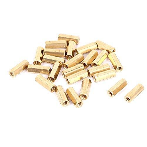 M4 x 16mm Female Threaded Brass Hex Standoff Pillar Spacer Nut 25pcs