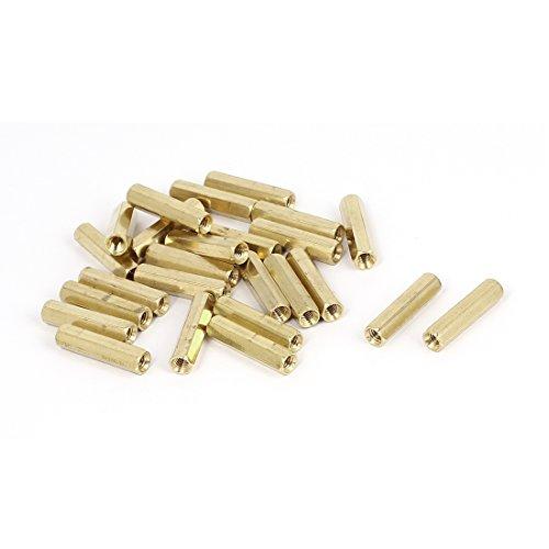 M4 x 25mm Female Threaded Brass Hex Standoff Pillar Spacer Nut 25pcs
