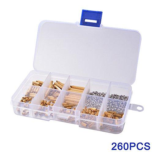 XCSOURCE 260pcs Brass M2 Threaded Standoffs Spacer Screw Nut Column Male-Female PCB Assortment Kit BI533
