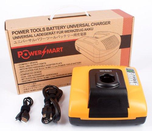 PowerSmartCharger for Dewalt DC011 DE9116 DW9108 DW9109 DW911 DW9116 DW9117 - Built-in dual USB ports