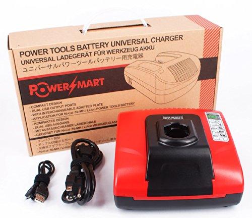 PowerSmart Universal Charger for Dewalt DC011 DE9116 DW9108 DW9109 DW911 DW9116 DW9117 - Built-in dual USB ports Red