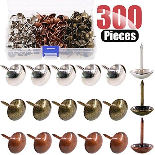 Hilitchi 300-Pcs 3-Color 91614mm Antique Upholstery Nails Tacks Furniture Tacks Upholstery Tacks Thumb Tack Push Pins Assortment Kit