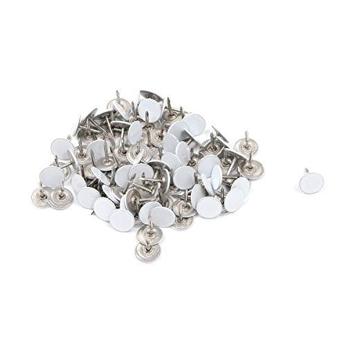 Karcy Thumb Tacks Furniture Tacks Flat Metal 043x051(DxH)White Pack of 100