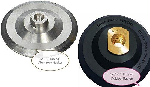 5-Inch Aluminum Back Holder with Velcro 58-11 Thread 5 Rubber backer Pad  Rubber backing pad with Velcro backing pad Arbor 58 11