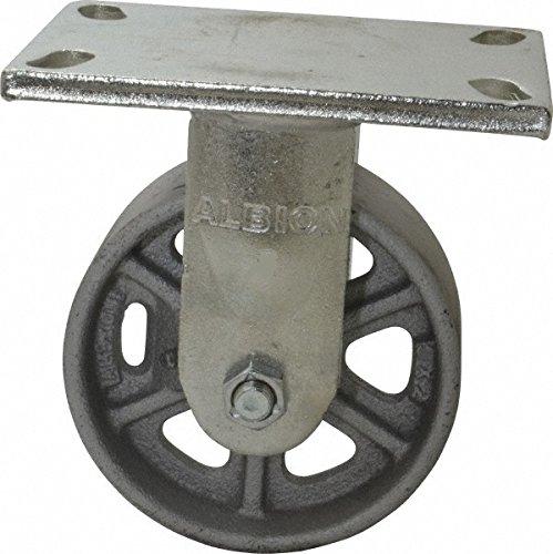 Albion 71CA04227R Heavy Duty Rigid Caster 4 Diameter Cast Iron Wheel Radial Bearing 2 Tread Width 5 L x 4 W Plate 1000 lb Capacity