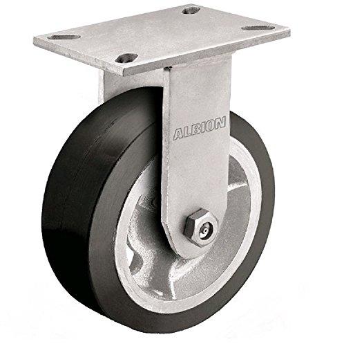 Albion 71MD08227R Heavy Duty Rigid Caster 8 Diameter Mold-On Rubber on Aluminum Wheel Radial Bearing 2 Tread Width 5 L x 4 W Plate 600 lb Capacity