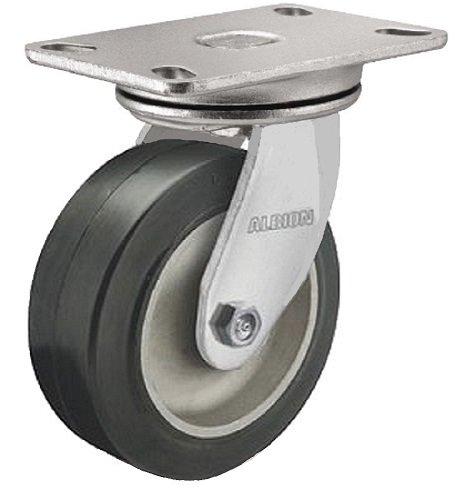 Albion 71MD08227SL Heavy Duty Swivel Caster with Swivel Lock 8 Diameter Mold-On Rubber on Aluminum Wheel Radial Bearing 2 Tread Width 5 L x 4 W Plate 600 lb Capacity