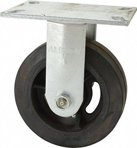 Albion 71MR08227R Heavy Duty Rigid Caster 8 Diameter Mold-On Rubber on Cast Iron Wheel Radial Bearing 2 Tread Width 5 L x 4 W Plate 600 lb Capacity