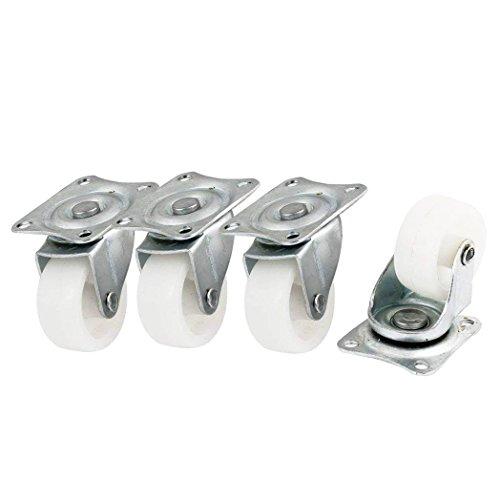LDEXIN 4pcs Fixed Swivel Wheel Caster Nylon Rectangle 360 Degree Metal Top Plate Mounted Bearing Fixed Caster Wheel 125 Diameter