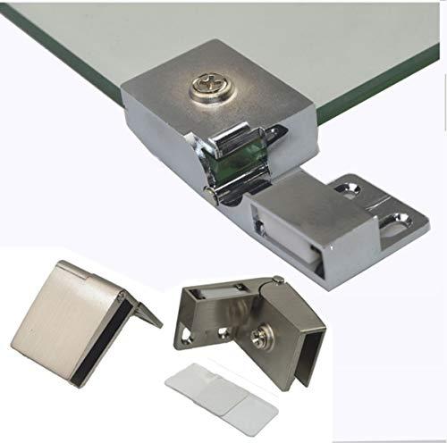 1 PairFrameless Glass Door Hinge Wine Cabinet Cabinet Display Cabinet Embedded Side Mounted Glass Door Hinge Brushed Nickel