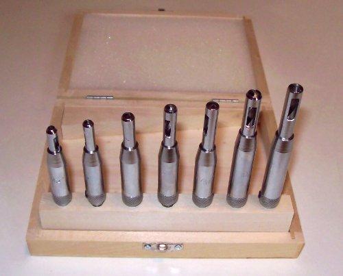 7 Pc High Speed Steel HSS Drill Bit Set Self Centering Hinge Door Cabinet in Wood Case Sizes 564 to 14