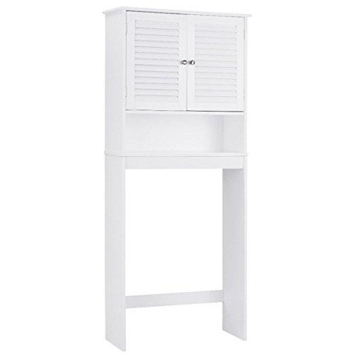 Giantex Over-The-Toilet Bathroom Storage Space Saver with 2 Door Cabinet Storage Shelf White