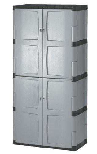 Rubbermaid 72-Inch Four-Shelf Double-Door Resin Storage Cabinet FG708300MICHR