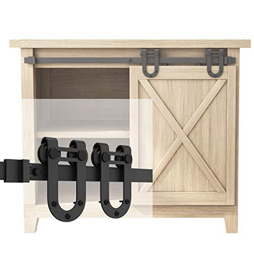 SMARTSTANDARD 3FT Super Mini Sliding Barn Door Hardware Track Kit -Smoothly and Quietly -for Cabinet TV Stand Closet Window -Fit 18 Wide Door Panel -U Shape Hanger NO Cabinet