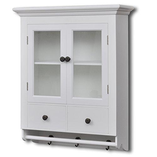vidaXL White Wooden Kitchen Wall Cabinet with Glass Door