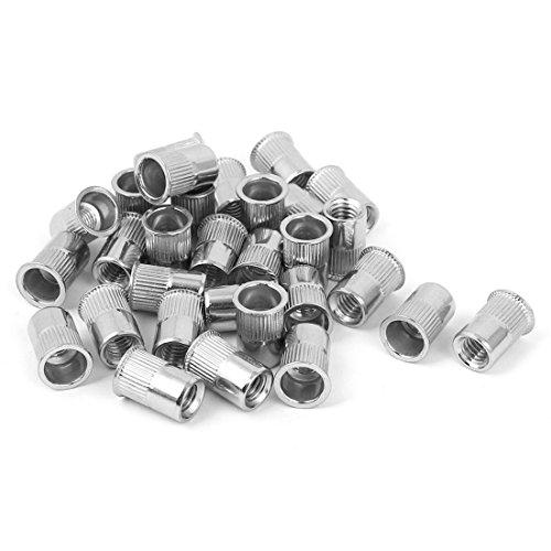 uxcell M6 Stainless Steel Rivet Nut Rivnut Insert Nutsert Silver Tone 30pcs