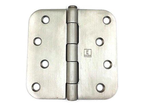 Hager Stainless Steel Door Hinge RC1542 4 x 4 US32D Satin Stainless 58 Radius Corners Full Mortise Residential - 2 per box